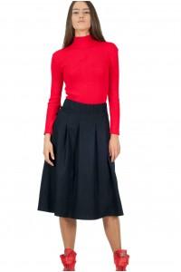 Дамска зимна черна разкроена пола с миди дължина