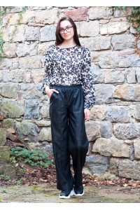 Черен кожен дамски панталон