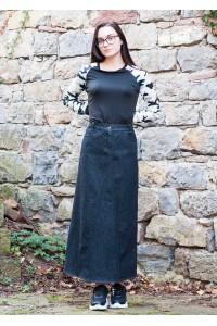 Дамска дълга спортна пола от черен пран деним