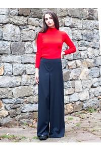 Черен дамски прав панталон с широк крачол