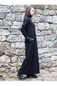 Зимна дамска дълга черна права рокля с дълъг ръкав
