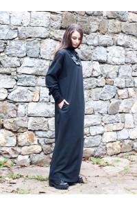Дамска дълга черна права рокля с дълъг ръкав