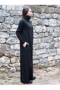 Зимна дамска дълга рокля с дълъг ръкав