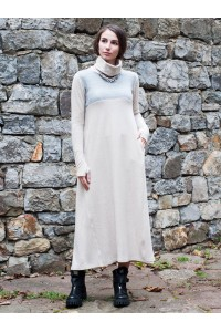 Зимна дамска вълнена рокля с дълъг ръкав