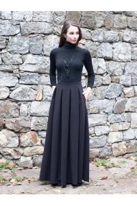 Дамска дълга черна пола