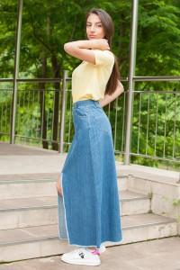 Дамска дълга спортна пола от пран деним