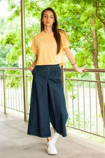 Дамски спортен панталон от пран деним