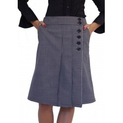 Топла вълнена зимна пола пепит сиво бордо - дамски облекла