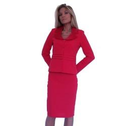 Стилен дамски офис костюм с пола червен