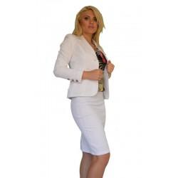Стилен дамски бял офис костюм