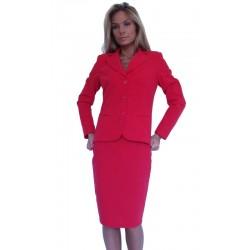 Стилен дамски офис костюм с пола червен - дамски облекла